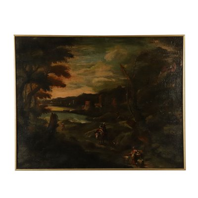Landscape with Buildings and Figures Oil on Canvas 18th Century Art Antique Painting
