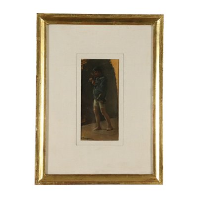 Sketch by Alceste Campriani Man with Pipe 19th Century Art 19th Century
