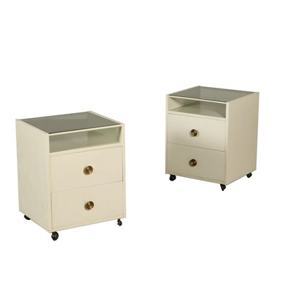 Pair of Nightstands with Wheels by De Carli for Sormani Wood Glass 60s Vintage Modernism Bedside Tables