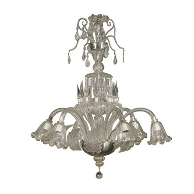Large Glass Chandelier Murano Italy First Half of 1900s Antiques Ceiling Lamps