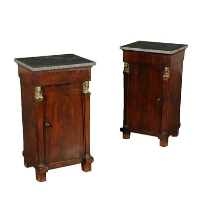 Pair of Empire Nightstands Mahogany Italy Early 1800s Antiques Bedside Tables