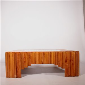 Coffee Table Pine Wood Glass Vintage Italy 1970s Vintage Modernism Side & Coffee Tables