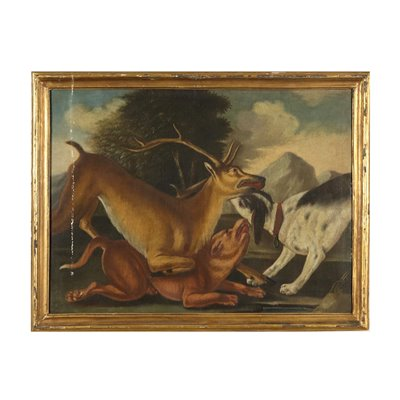 The Deer Hunting Oil on Canvas Painting 18th Century Art Antique Painting
