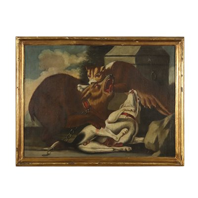 The Puma's Assault Oil on Canvas Painting 18th Century Art Antique Painting