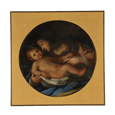 Madonna with Child Oil on Board 19th Century Art Antique Painting