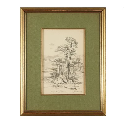 Watercolor by Giuseppe Puricelli Guerra Landscape 19th Century Art 19th Century