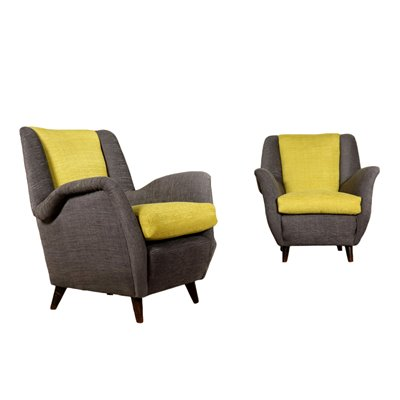 Pair of Armchairs Fabric Upholstery Vintage Italy 1950s Vintage Modernism Armchairs