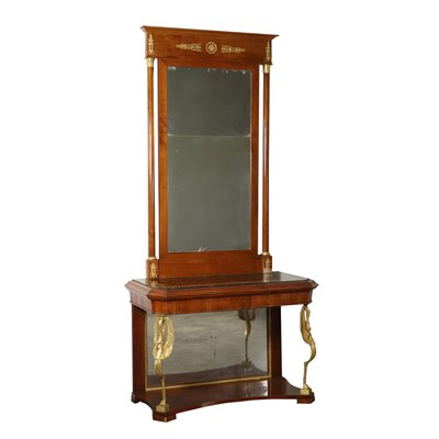 Console with Mirror Charles X Cherry Italy First Half of 1800s Antiques Consoles