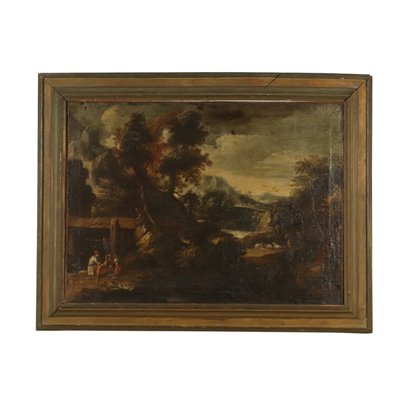 Landscape with Figures Oil Painting on Canvas 17th Century Art Antique Painting