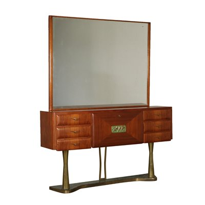 Chest with Mirror Teak Veneer Brass Vintage Italy 1950s Vintage Modernism Cupboards