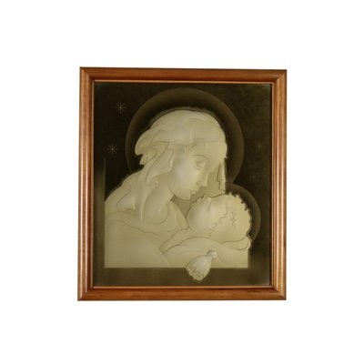Madonna with Child Gilded Glass Italy 1940s-1950s Vintage Modernism Decorative Objects
