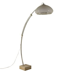Floor Lamp with Extensible Arch Aluminium Methacrylate Marble 60s-70s Vintage Modernism Floor Lamps