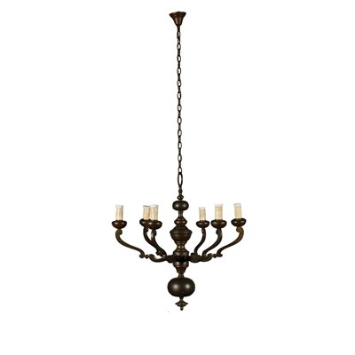 Bronze Chandelier Six Arms Italy 20th Century Antiques Ceiling Lamps