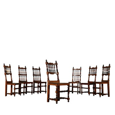 Set of Seven Walnut Chairs Italy 18th Century Antiques Chairs