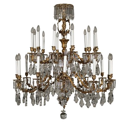 Chandelier with Crystal Drops Italy 20th Century Antiques Ceiling Lamps