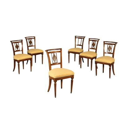 Set of Six Chairs Walnut Italy 19th Century Antiques Chairs