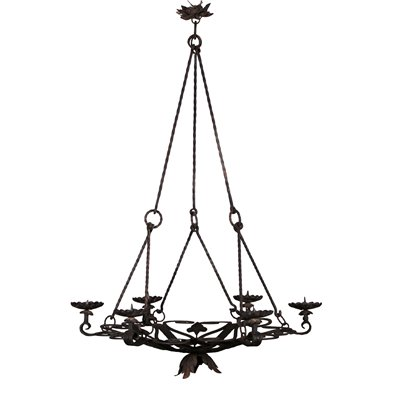 Candle Holder Chandelier Iron Italy 20th Century Antiques Ceiling Lamps