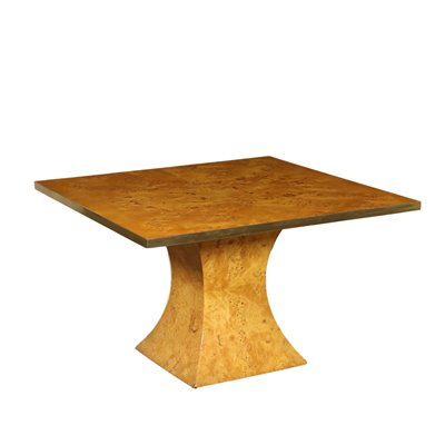 Table Burl Veneer Brass Vintage Italy 1970s-1980s Vintage Modernism Tables