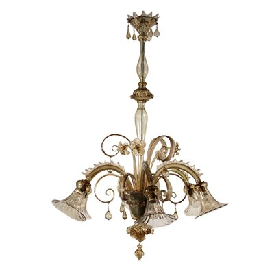 Glass Chandelier from Murano Italy 20th Century Antiques Ceiling Lamps