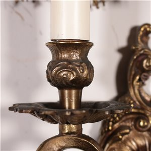 Pair of Bronze Sconces Italy 20th Century Antiques Wall Lamps