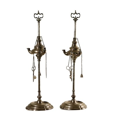 Pair of Silver Oil Lamps Italy 18th Century Antiques Candlesticks