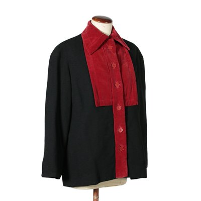 Vintage Black and Red Jacket Made in Italy 1940s-1950s Vintage Modernism Vintage Clothing