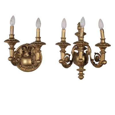 Pair of Gilded Sconces Italy 20th Century Antiques Wall Lamps