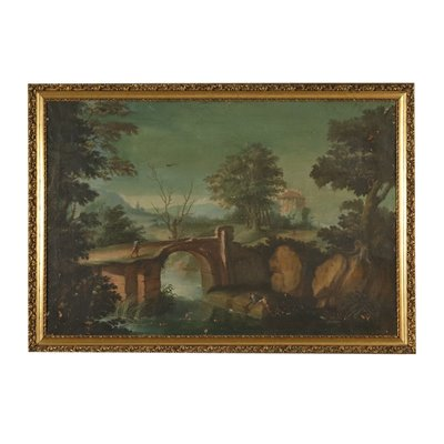 Landscape with River and Figures Painting 18th Century Art Antique Painting