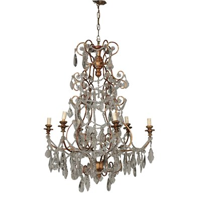Glass Chandelier Six Arms Vintage Italy 20th Century Antiques Ceiling Lamps
