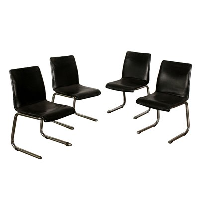 Set of Chair Leatherette Chromed Tubular Vintage Italy 1970s Vintage Modernism Chairs
