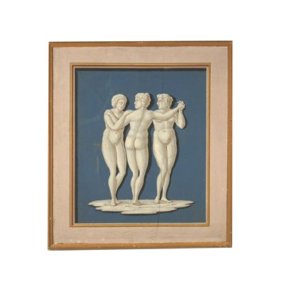 Neoclassical Decorative Element The Three Graces Painting 18th Century Art Antique Painting