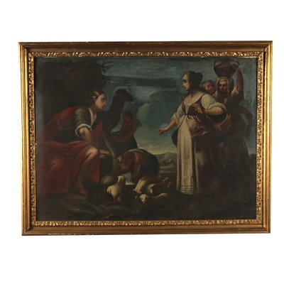 Eliezer and Rebecca at the Well Painting 18th Century Art Antique Painting