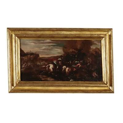 War Scene Oil Painting Late 17th Century Art Antique Painting
