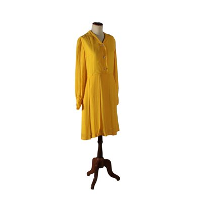 Vintage Dress Yellow Chiffon Italy 1960s Vintage Modernism Vintage Clothing