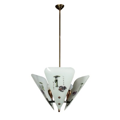 Ceiling Light Metal Frosted Glass Vintage Italy 1960s Vintage Modernism Ceiling Lamp
