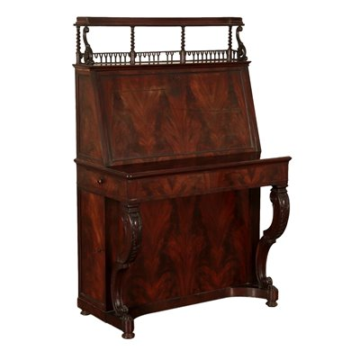 Writing Desk with Drop Leaf Maple Mahogany France Mid 1800s Antiques Writing Desks