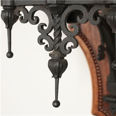 Set of Four Sconces Iron Walnut 20th Century Antiques Wall Lamps