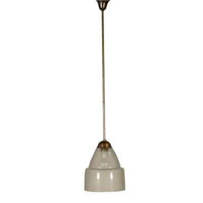 Ceiling Light Brass Frosted Glass Vintage Italy 1960s
