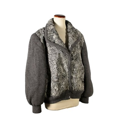 Vintage Jacket Grey Lamb and Wool 1980s