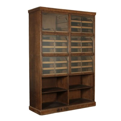 Display Cabinet Oak Veneer Glass Brass Vintage Italy 1940s