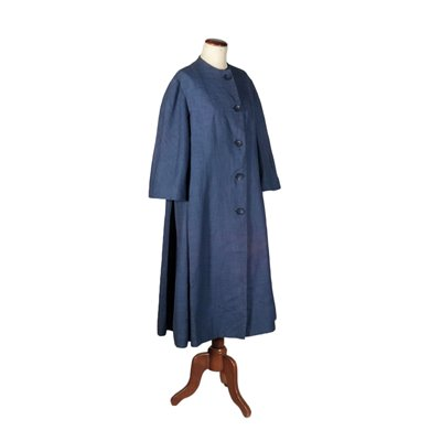 Vintage Blue Coat Fabric Italy 1950s