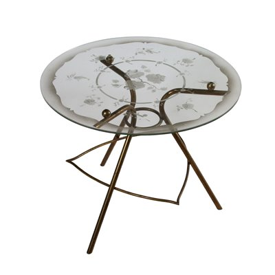 Coffee Table Glass Top Vintage Italy 1940s-1950s