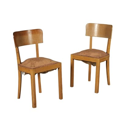 Couple of Chairs Beech fabric Upholstery Vintage Italy 1930s-1940s