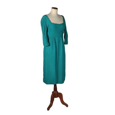 Vintage Dress Silk Petrol 1950s