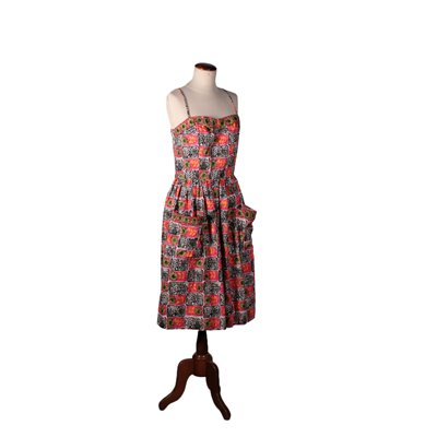Vintage Cotton Dress with Flower Print 1960's-1970's