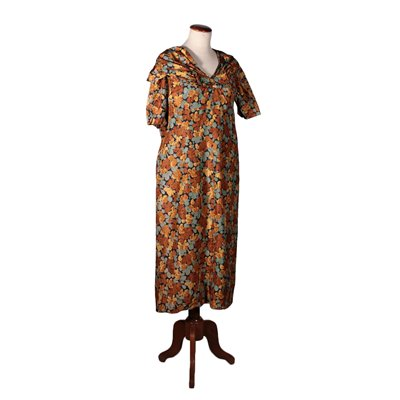 Silk Dress Floral Pattern Vintage 1950s