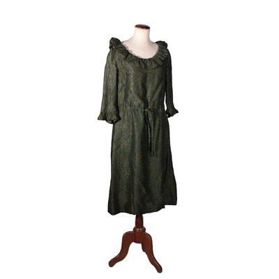 Day Dress Jacquard Iridescent Fabric Green and Gold 1950s-1960s