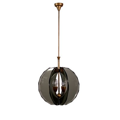 Ceiling Lamp Brass and Glass 1960s