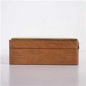 Sessile Oak Box with Carved Glass Top 1930s-1940s