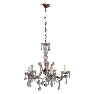 Maria Teresa Chandelier Iron and Glass First Half 20th Century